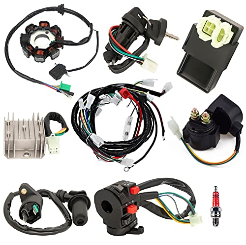 Complete Wiring Harness Kit Electrics ATV Wire Harness Kit with CDI Stator Regulator Ignition Switch Solenoid Relay For GY6 125cc 150cc Pit Bike Scooter ATV Quad Go Kart 4-Stroke Parts by Yolik