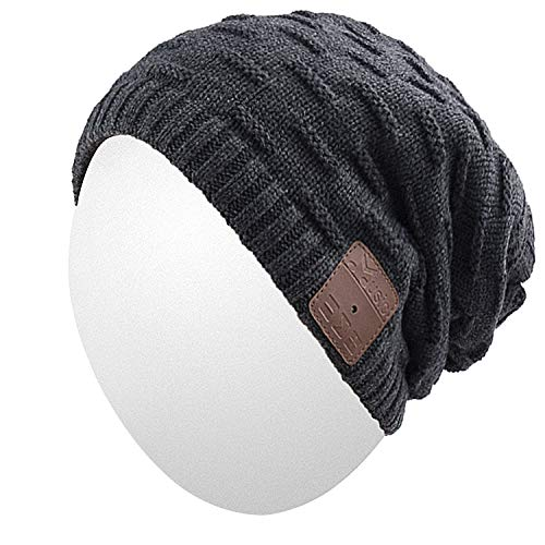 Qshell Unisex Washable Trendy Bluetooth Music Beanie Hat Cap Scarf w/Wireless Headphones Headsets Earpieces Mic Hands Free for Lifestyle Gym Sports Fitness Running Skiing Snowboard Hiking - Black