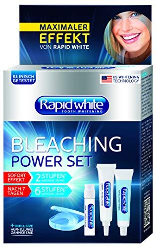 Rapid White Bleaching Power Set, sofortige Zahnaufhellung, ohne Wasserstoffperoxid, für bis zu 6 Stufen weißere Zähne, Bleachinganwendung für Zuhause