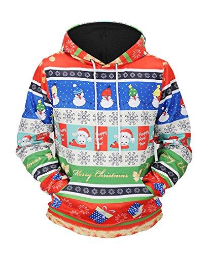 Honeystore Unisex Weihnachten Schneemann Drucken Kapuzenpullover 3D-Druck Beiläufig Hemden Tops Blusen Winter Kapuzenpullis mit Kapuze Hemd Pullover Mantel Sweater Sweatshirts Mäntel Mehrfarbig XL