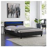 CARO-Möbel Polsterbett Jerry Einzelbett Bettgestell in schwarz mit LED Beleuchtung, 140 x 200 cm, inklusive Lattenrost - 2