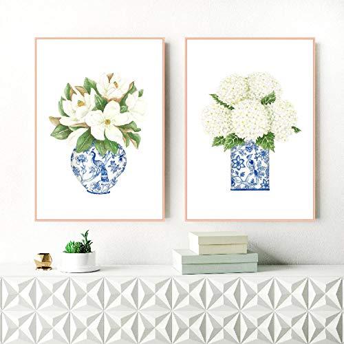 MKWDBBNM Hortensia Blanca Gardenia Azul Azul y Blanco Botella de Porcelana Impresiones Arte de la Pared Póster de Flores Pintura Lienzo Imágenes Decoración para el hogar | 40x50cmx2 Sin Marco