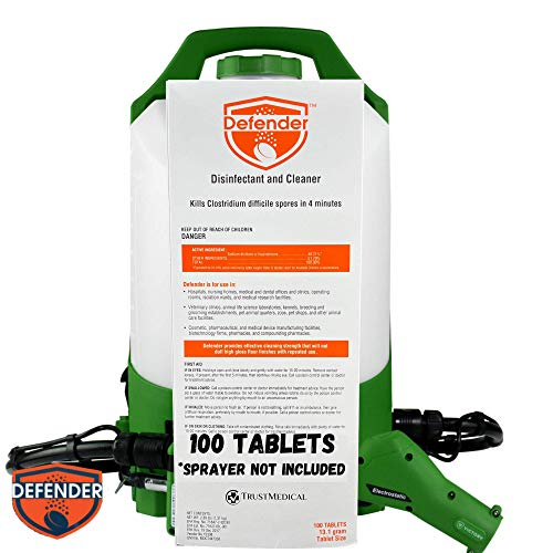 Defender | Disinfectant and Cleaner | Kills COVID-19 & Other Viruses | Works with Victory & Protexus Sprayers | 100 Tablets | 13.1 Grams per Tablet