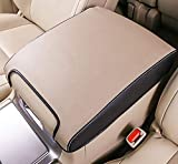 Salusy Leather Car Center Console Armrest Case Cover Compatible with Toyota Land Cruiser 200 LC200 2008-2018 (Beige)