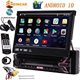 EINCAR Single Din Android 10 Car Stereo with 7' Car DVD Player Car GPS Navigation Auto Radio Receiver 1 Din Android 10.0 Headunit with Detachable Screen RDS WiFi OBD SWC Mirror Bluetooth, External MIC