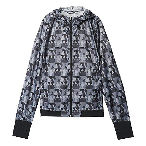 adidas Damen Jacke RUN Graphic Jacket, Schwarz, 36, 4056561657692