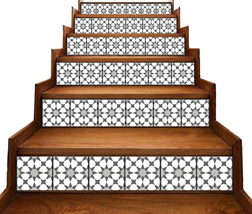 Peel and Stick Stair Riser Decals DIY Tile Backsplash Decals Mexican Talavera Moroccan Turkish Portuguese Traditional Waterproof Home Decor Staircase Mural Stickers 7''W x 48''L (Set of 6) (Moroccan)