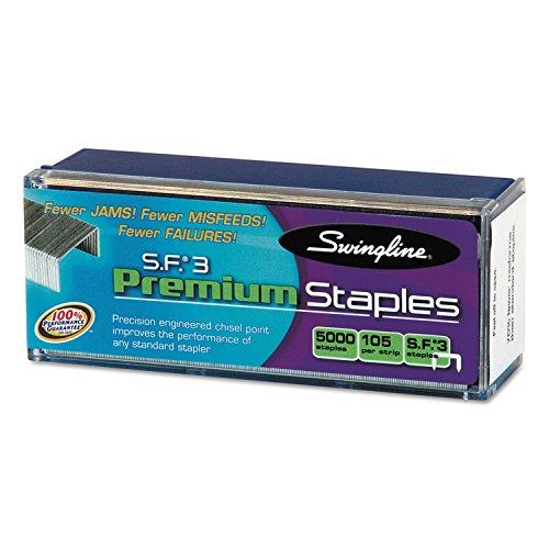 Swingline 35440 S.F. 3 Premium Chisel Point 105 Count Half-Strip Staples 5000/Box