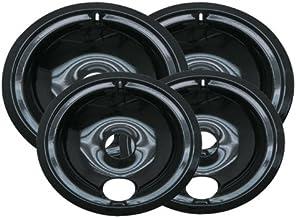 Range Kleen P119204X Porcelain GE Drip Pans Set Of 4 Containing 2 Units P119, P120, Black by Range Kleen