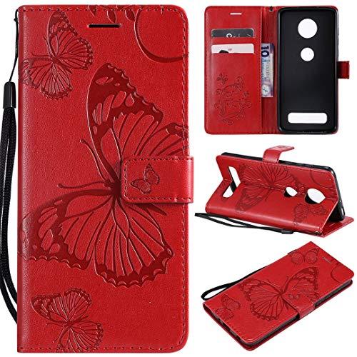 SATURCASE Motorola Moto Z4 Play Hülle, Schmetterling PU Lederhülle Magnetverschluss Brieftasche Kartenfächer Standfunktion Schutzhülle Handyhülle Tasche Hülle für Motorola Moto Z4 Play (Rot)