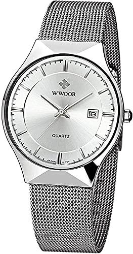 ZFAYFMA Reloj de hombre de moda, ultrafino, minimalista, analógico, de cuarzo, correa de malla de acero inoxidable, de lujo, impermeable, color plateado y blanco