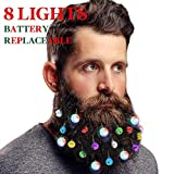 DecoTiny Battery Replaceable 20 Beard Lights Ornaments, 8 Pcs Lights and 12 Pcs Colorful Sounding Jingle Bells, Xmas Men Gifts(8 LED+ 12 Bells)
