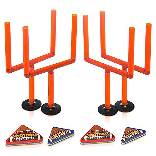 ArtCreativity Flick Football Games Set of 2 Mini Table Top Sports Games with Posts and Foam Footballs Indoor Finger Games for Kids Office Desk Toys Sports Party Favors