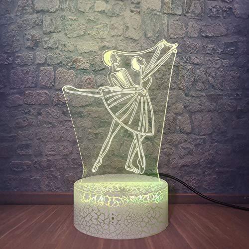 3D Lámpara óptico Bailarina de ballet Illusions Luz Nocturna,LED Luces Noche para Niños Decoración Tabla Lámpara de Escritorio 7 Colores Cambio de Botón Táctil,Festival Cumpleaños Regalo