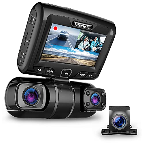 """REXING S1 Dash Cam 3-Channel Front,Rear,Cabin 1080P +1080p +1080p, 3"""" LCD, Infrared Night Vision,..."""