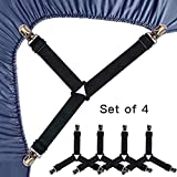 Best Bed Sheet Suspenders - Roomir 4PCS Bed Sheet Fasteners, Adjustable Triangular Bed Review