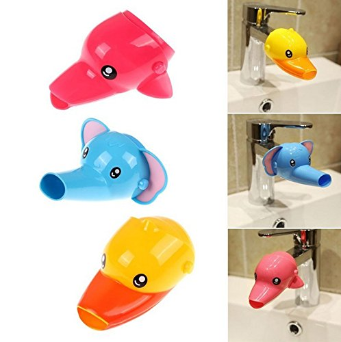 Extensor de grifo para el lavabo de Musuntas, 2 unidades, para que los niños se laven las manos (pato y elefante)