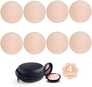 Nipple Covers Reusable With Carry Case, Comfortable & Natural, Invisible/Flesh-Color, Adhesive Silicone Pasties for Women