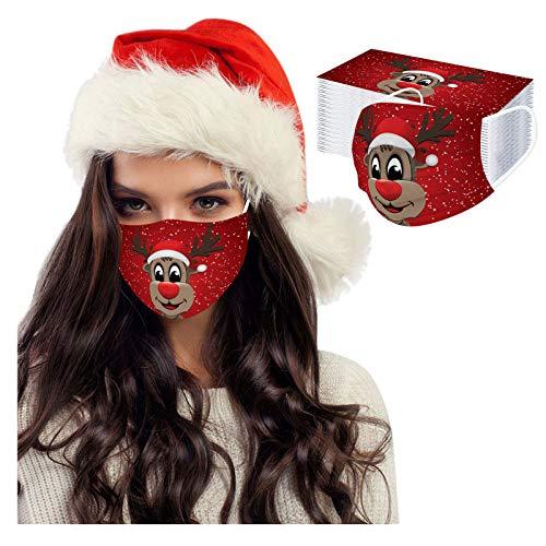 50 Stück Damen Herren Mundschutz mit Motiv Weihnachten Bunt MNS Mund und Nasenschutz Elch Druck Maske Tücher Atmungsaktiv Mund-Tuch Bandana Halstuch Schals