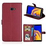 LMFULM® Hülle für Samsung Galaxy J4 Plus/SM-J415 (6,0 Zoll) PU Leder Magnet Brieftasche Lederhülle Handyhülle Stent-Funktion Ledertasche Flip Cover für Galaxy J4 + Einfaches Weinrot