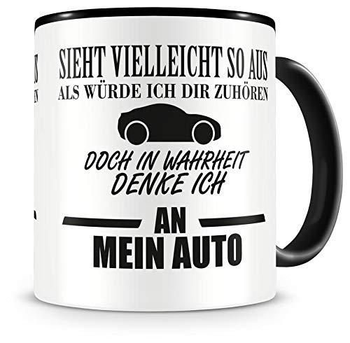 Samunshi® Ich denke an mein Auto Tasse Kaffeetasse Teetasse Kaffeepott Kaffeebecher Becher