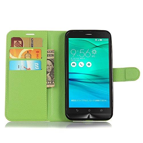 Tasche für Asus ZenFone Go ZB551KL (5.5 zoll) Hülle, Ycloud PU Ledertasche Flip Cover Wallet Hülle Handyhülle mit Stand Function Credit Card Slots Bookstyle Purse Design grün