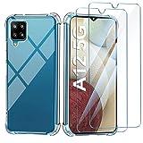 Leathlux Hülle Kompatibel mit Samsung Galaxy A12/ M12 Handyhülle mit 2 Stück Panzerglas Schutzfolie, Durchsichtig Hülle Transparent Silikon TPU Schutzhülle Premium 9H Gehärtetes Glas