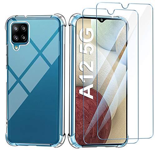 Leathlux Funda Samsung Galaxy A12, 2 Pack Cristal Templado Protector de Pantalla, Ultra Fina Silicona Transparente TPU Funda y Protector Samsung Galaxy A12