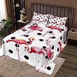 Mädchen Flamingo Tagesdecke 170x210cm für Kinder Kinder Tierdeko Steppdecke Dekorativ Roter Vogel Druck Bettüberwurf Schwarz Weiß Polka Dots Wohndecke 2St