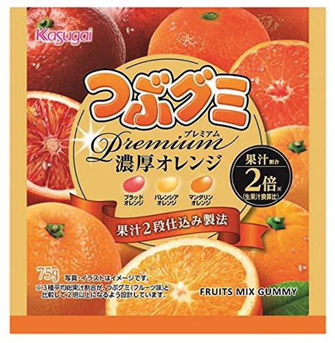 春日井製菓 つぶグミpremium濃厚オレンジ 75g ×10袋