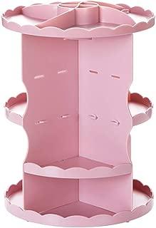 Rotating Cosmetics Shelf Dressing Table Storage Rack Desktop Multi-Layer Plastic Skin Care Storage Box (Size: 30 * 22cm) (Color : Pink, Size : 30 * 22cm)