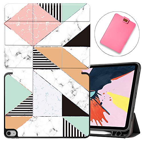 MAITTAO Case for iPad Air 4 10.8 inch 2020 Release with Apple Pencil Holder, Soft TPU Back Shell Stand Smart Cover with Auto Sleep/Wake for iPad Air 10.8 Tablet Sleeve Bag 2 in 1 Bundle, Marble 6