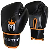 Meister Pro Boxing Gloves w/ Wrist Support (Pair) - 16 Ounce, Adult, Black/Orange