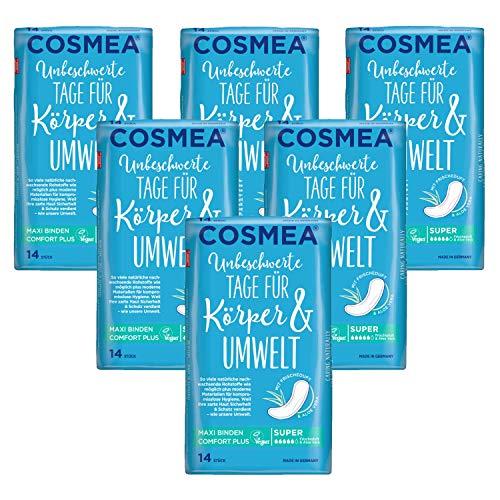 Cosmea Maxi Binden Super mit Aloe Vera Duft Vorteilspack (6 x 14 Stück), Hygiene-Einlagen aus nachwachsenden Rohstoffen. Damen-Hygiene im Einklang mit der Natur