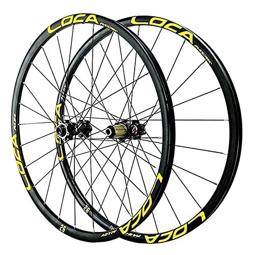 MGRH Ruedas Delanteras Traseras De Bicicleta De Montaña 26'/ 27,5' / 29'Freno De Disco Bicicleta MTB Llantas De Aleación De Aluminio 8-12 Velocidades, Eje Pasante 24 AG yellow-27.5inch