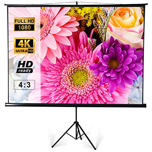 Tripod Projector Screen with Stand, Large 120 inch 4:3 3D 4K HD, Portable Presentation Screen for Indoor Outdoor Home Office School Class Movie Theater Cinema