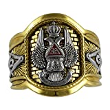 UNIQABLE Handcrafted Masonic Scottish Rite 33 Degree Ring 18K Gold PLD Yellow Version 22 Grams Templar BR-24 (9.5)