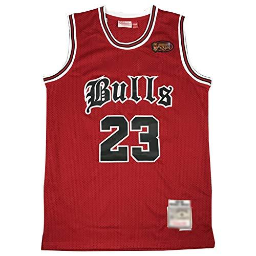 CLKI # 23 Michael Jordan Camiseta de Baloncesto con Logotipo de Finales, toros Classic Classic Retro Swingman Jerseys, Camiseta cómoda de Sudadera Red B-S