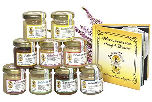 Honig Geschenk-Set 9 Sorten á 50g - mit Honigbuch (96 Seiten) und über 30 Rezepten - von Imkerei Nordheide | Honig zum Kennenlernen in Geschenkbox aus Karton