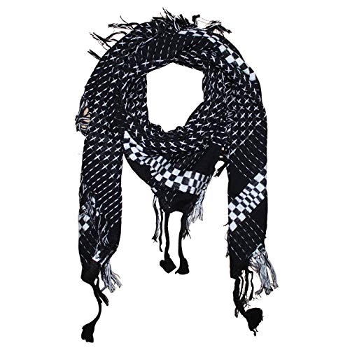 Superfreak Tuch im Pali Stil mit Kreuzmuster - PLO Schal - 95x95 cm - Pali Palästinenser Arafat Tuch - 100{385b527c3488861a12fbadf759d2c8669f069ba5e964b7756c66d06fdb89b49e} Baumwolle Farbe: schwarz-weiß