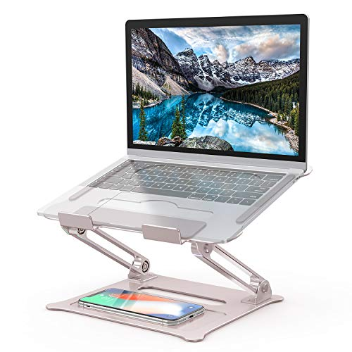 Adjustable Laptop Stand, Aluminum Computer Riser, Ergonomic Portable Laptops Elevate Stand for Desk, Multi-Angle with Heat-Vent Height Holder Compatible with 10-17' Notebook Computer