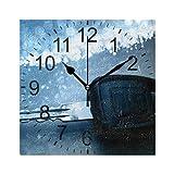 XiangHeFu Reloj de Pared Cuadrado de 8 x 8 Pulgadas, Puntos de luz de Fibra óptica Clave, hogar, Oficina, Escuela, Decorativo sin tictac