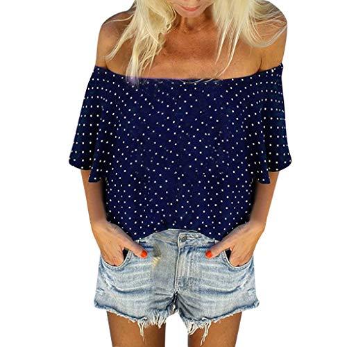Longra T-shirt voor dames, chic, zomer, korte mouwen, casual, schouders