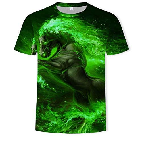 Nieuwe groene vlam paard 3D digitale print shirt mannen mode ronde hals korte mouw T-Shirt