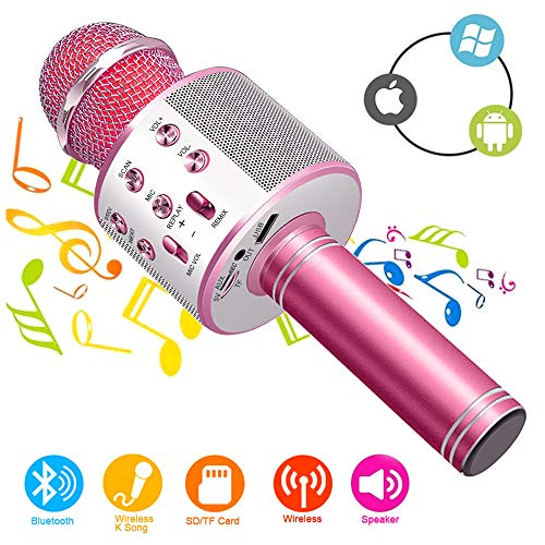 Wireless Bluetooth Karaoke Microphone Machine,Portable Handheld Karaoke Bluetooth Handheld Karaoke Speaker Player Machine for Kids Adults Home KTV Party for Android/iOS/Ipad/Pc Girl Boy (Pink)