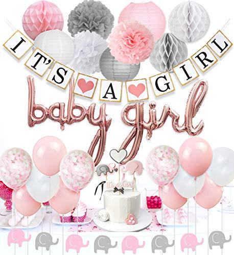 Decoraciones para bebés para niñas de color rosa y blanco, globos para bebés, guirnaldas de elefantes, globos de confeti, adornos para pasteles de elefantes para suministros de ducha para bebés