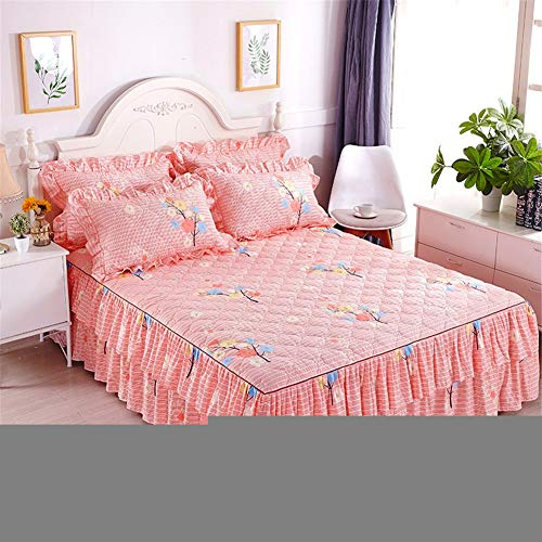 CQZM Verdicken Mit Rüschen Bettvolant Babybett rutschfest Gesteppter Bettrock Tagesdecke Single Double Bed Skirt Queen Schlafzimmer Wrap Around Style Bett RöckeG-150x200cm(59x79inch)