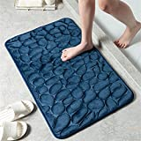 2 Pieces Bath Mats Set for Bathroom - Memory Foam Bath Mat Ultra Soft Non Slip and Absorbent Bathroom Rug,Small/Large,Navy Blue