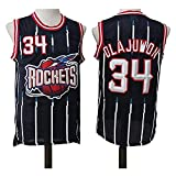XZWQ NBA Jersey Men's Jersey- Rockets 34# Hakeem Olajuwon Jerseys Unisex Basketball Jerseys Cómodo Bordado Baloncesto Camisetas Camisetas Sin Mangas,Negro,XL