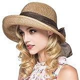 Kqpoinw Sombrero para El Sol, Gorra de Paja para Mujer Sombrero Plegable Sombrero Ancho de ala Ancha Sombrero para El Sol Sombreros de Playa de Verano para Mujeres (Caqui)